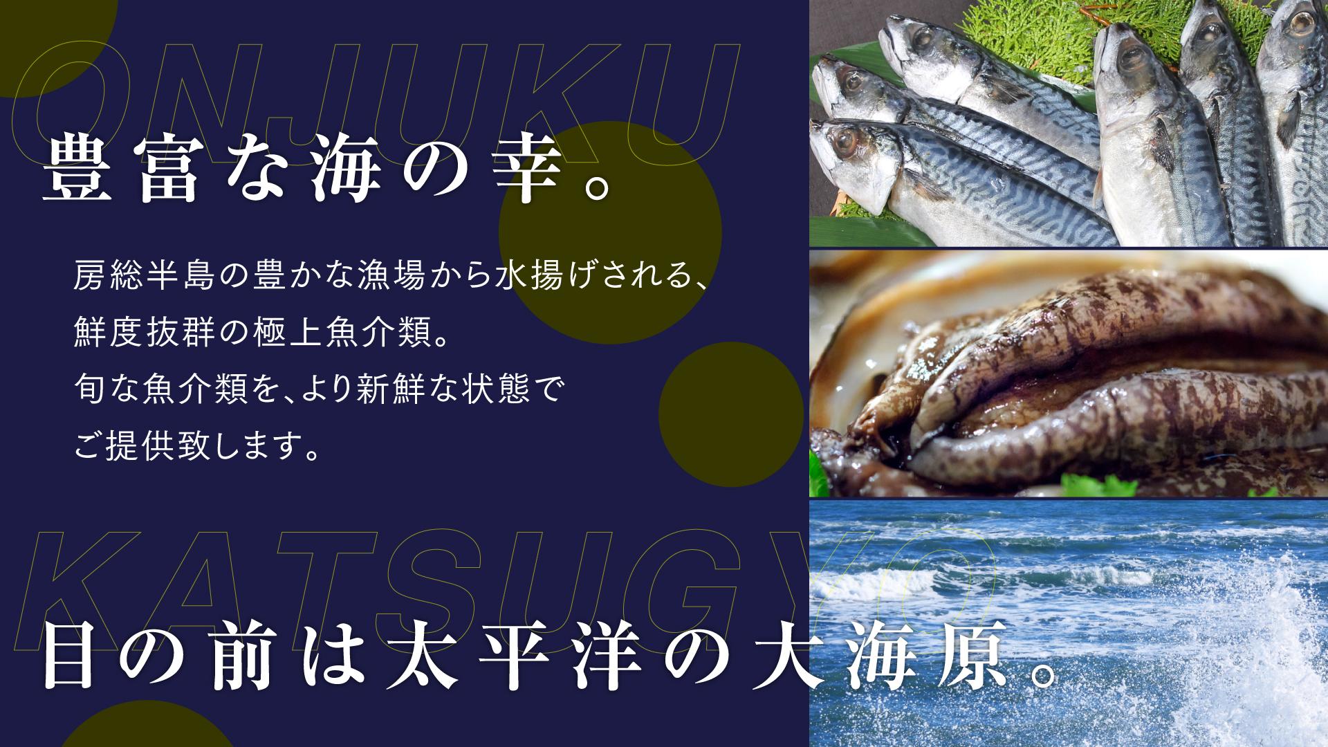 房総半島の豊かな漁場から水揚げされる鮮度抜群の極上魚介類。旬な魚介類をより新鮮な状態でご提供致します。